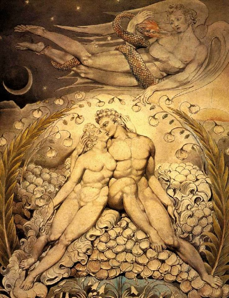 William Blake, Satana guarda le effusioni di Adamo ed Eva (1808) Boston – Museum of Fine Arts